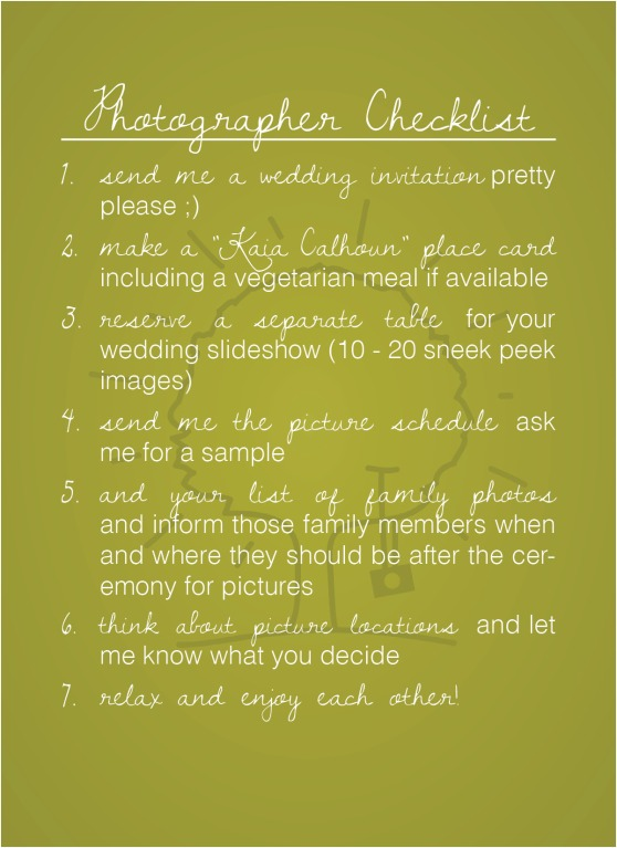 Photographer Checklist
